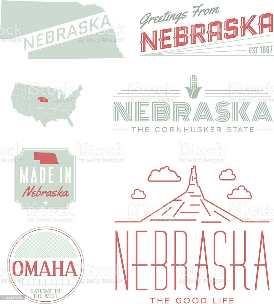 Nebraska Typography vector art illustration