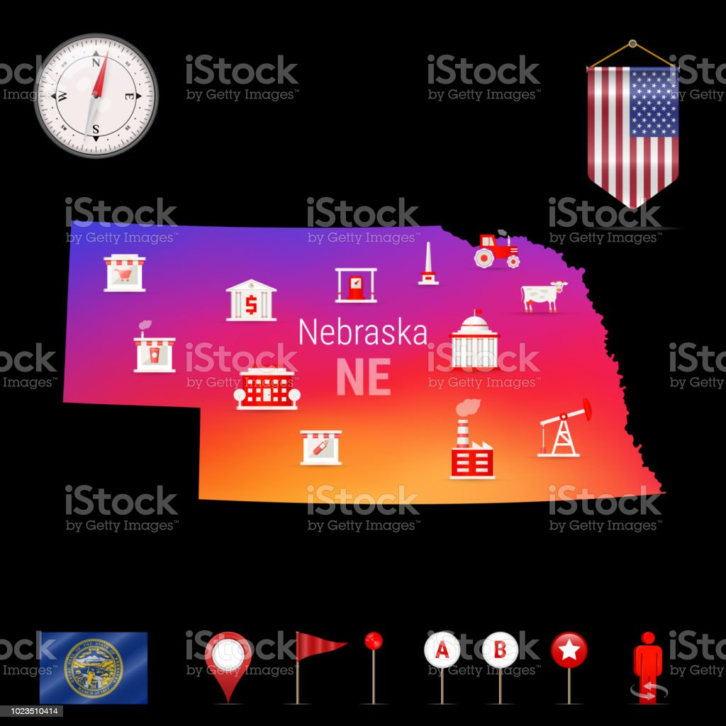 Nebraska Vector Map Night View Compass Icon Map Navigation Elements