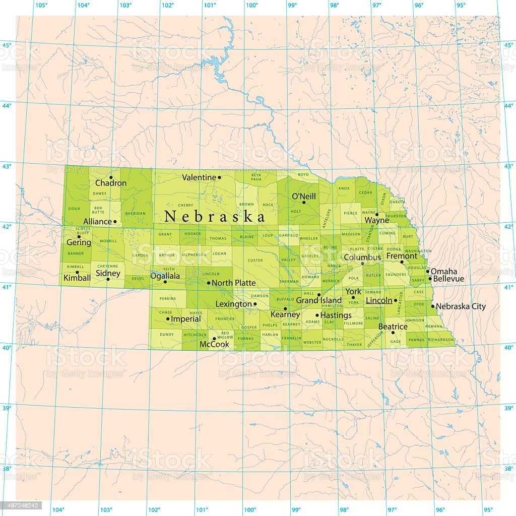 Nebraska Vector Map vector art illustration