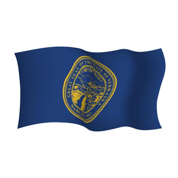 ilustrações, clipart, desenhos animados e ícones de bandeira de ondulação do vetor de nebraska. ilustração do vetor. estados unidos da américa. - bandeira union jack