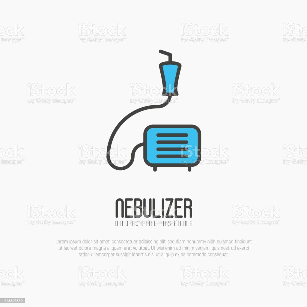 Nebulizer thin line icon from asthma and respiratory diseases. Simple vector illustration. vector art illustration