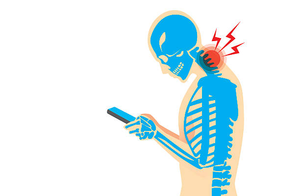 Neck Pain from Smartphone Neck bone and muscles have pain because smartphone addiction and play long time. posture stock illustrations