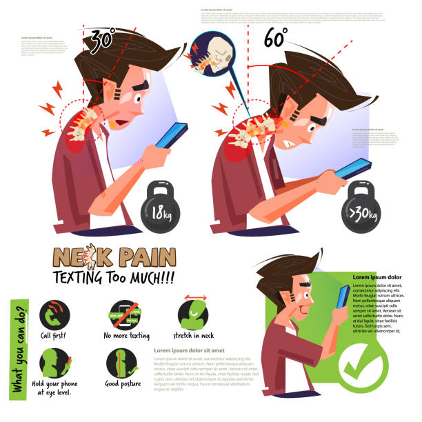 neck pain from using smartphone or texting too much. infographic. right and wrong position for good health - vector neck pain from using smartphone or texting too much. infographic. right and wrong position for good health - vector illustration posture stock illustrations
