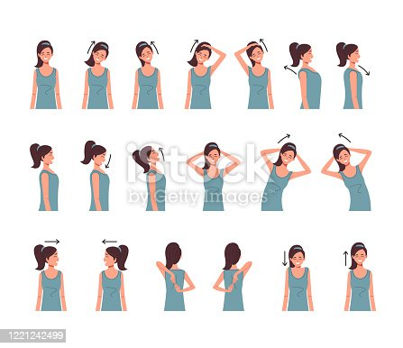 Neck shoulder spine exercise isolated set. Vector flat cartoon graphic design