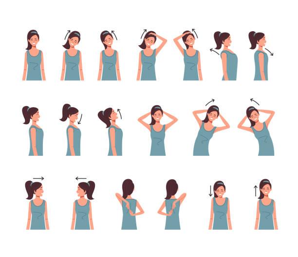 Nacken Schulter Wirbelsäule Übung isoliert set. Vektor flache Cartoon Grafik-Design-Illustration – Vektorgrafik