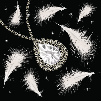 Necklace and feathers