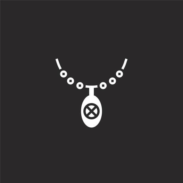 ilustrações de stock, clip art, desenhos animados e ícones de necklace icon. filled necklace icon for website design and mobile, app development. necklace icon from filled hawaii collection isolated on black background. - porta retrato