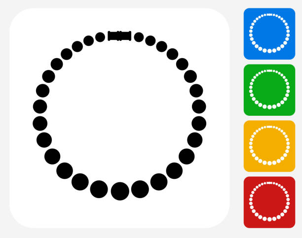 necklace icon flat graphic design - pearl jewelry stock illustrations, clip art, cartoons, & icons