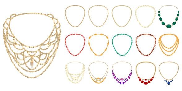 Necklace icons set, cartoon style