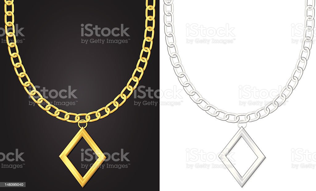 necklace with diamond symbol royalty-free stock vector art