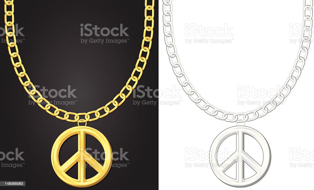 necklace with peace symbol royalty-free necklace with peace symbol stock vector art & more images of black color