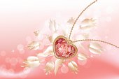 Gold necklace with red jewel in the shape of heart on abstract pink background with white flowers. Files include: Illustrator CS5, Illustrator 10.0 eps, SVG 1.1, pdf 1.5, JPEG 300 dpi, organized by layers, easy to edit.
