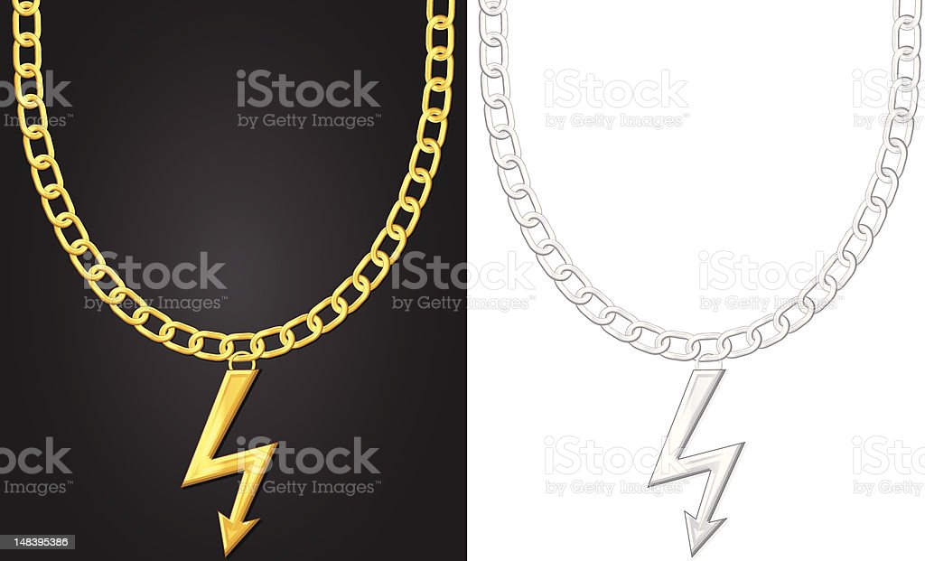 necklace with thunder symbol royalty-free stock vector art