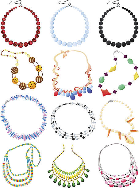 Necklaces Set of necklaces isolated on white background bead stock illustrations