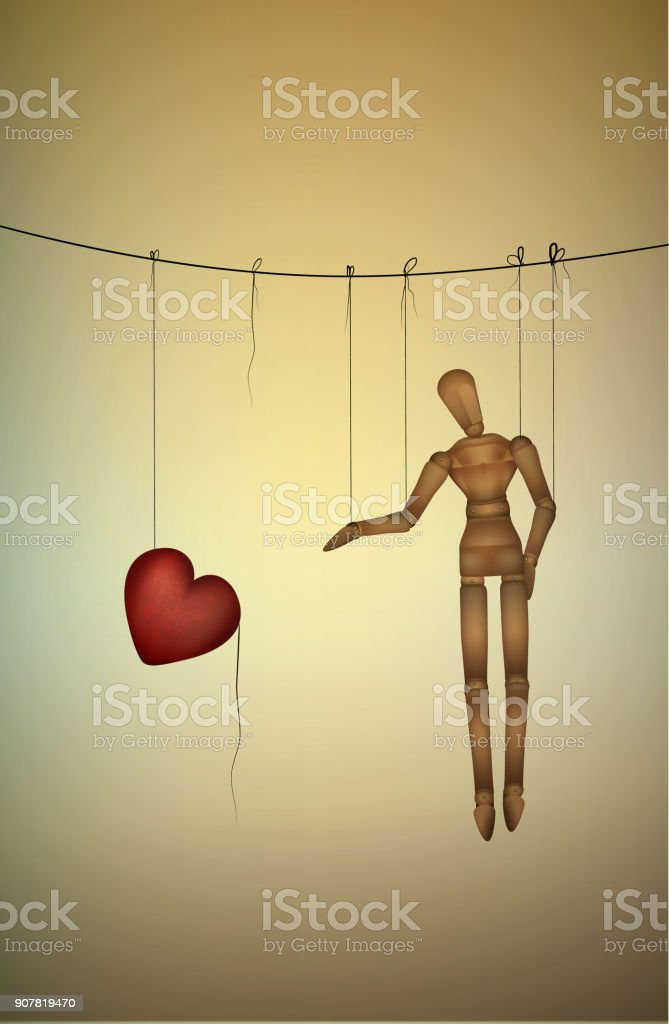 need love concept, marionette tries to take a big heart, marionette life series, vector art illustration