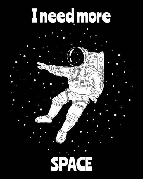 I need more space with astronaut in outer space, cartoon vector poster, postcardcard design vector art illustration