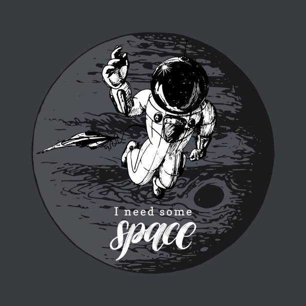 I Need Some Space handwritten phrase. Drawn vector illustration of astronaut and space shuttle on Jupiter background. I Need Some Space handwritten phrase. Drawn vector illustration of astronaut and space shuttle on Jupiter background. Inspirational science poster, card etc. Sketch in retro futuristic style. astronaut floating in space stock illustrations