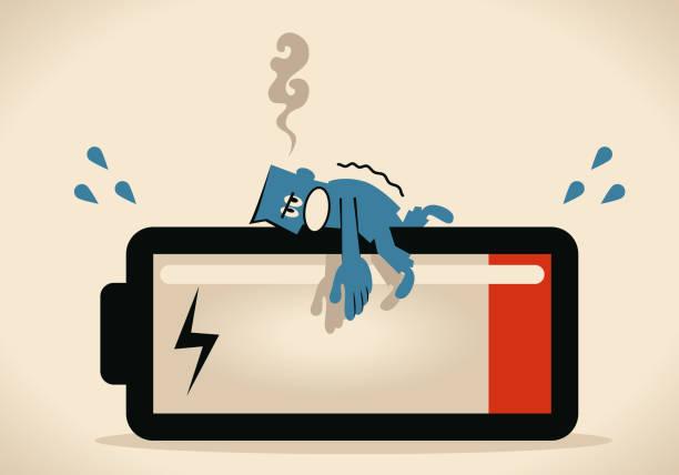 stockillustraties, clipart, cartoons en iconen met moet energie macht, zakenman liggen op de grote batterij opladen - vermoeidheid