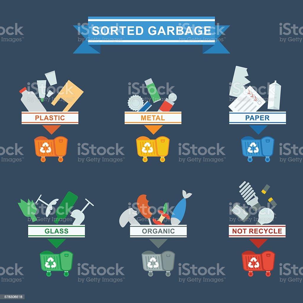 need to sort trash blue vector art illustration