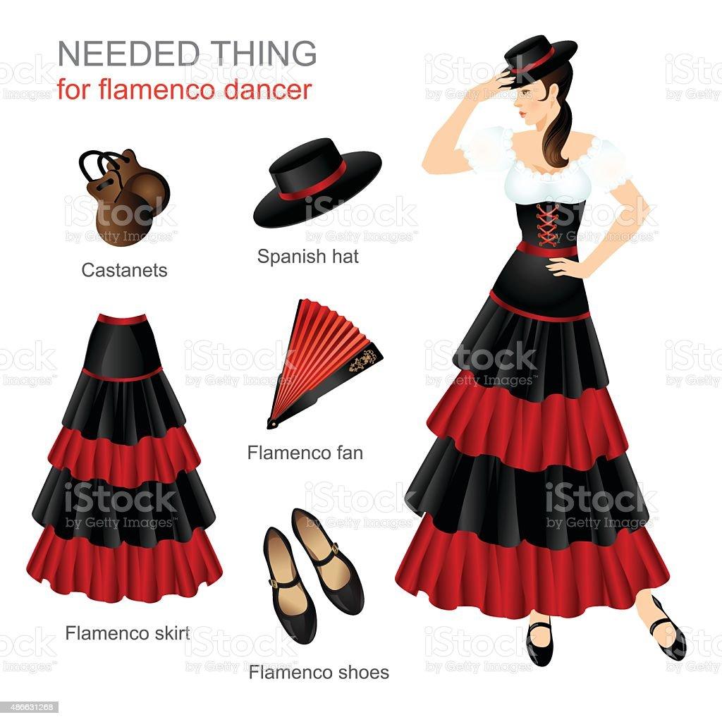 Needed thing for flamenco dancer vector art illustration
