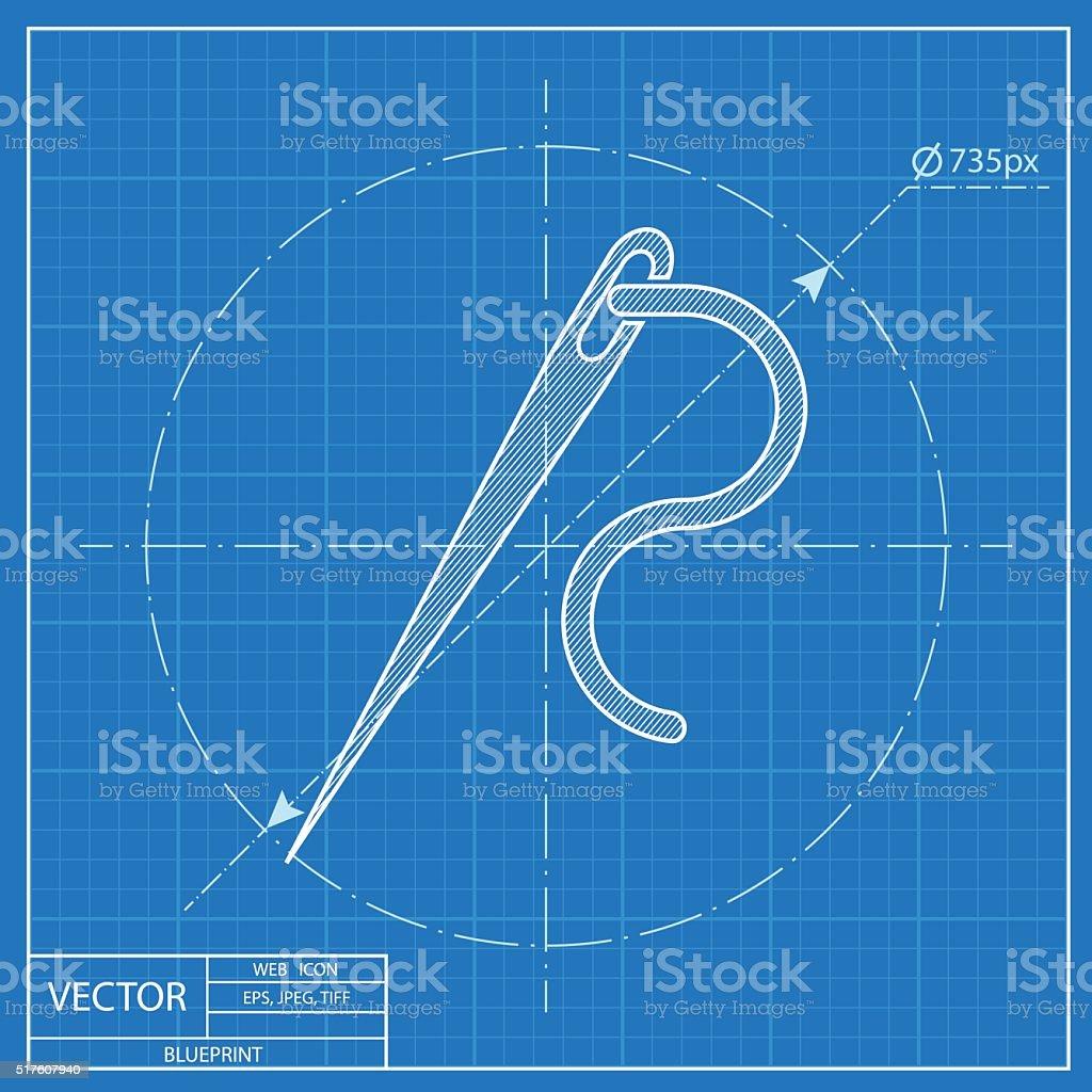 Needle and thread vector blueprint icon vector art illustration
