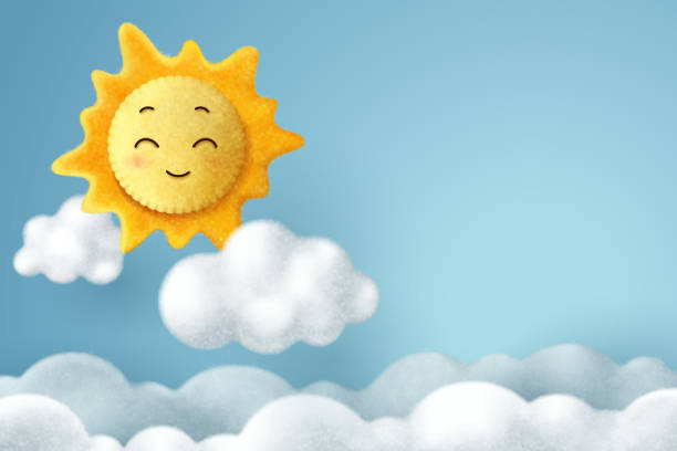 Needle felting of sun and cloud in the sky, hello spring or summer concept Needle felting of sun and cloud in the sky, hello spring or summer concept, vector art and illustration. felt textile stock illustrations