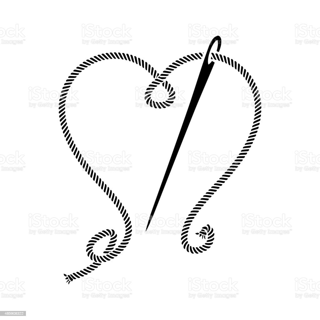 Needle Sewing with Heart of Threads vector art illustration