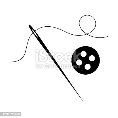 Needle with thread for sewing and button from clothes. Vector isolated illustration.