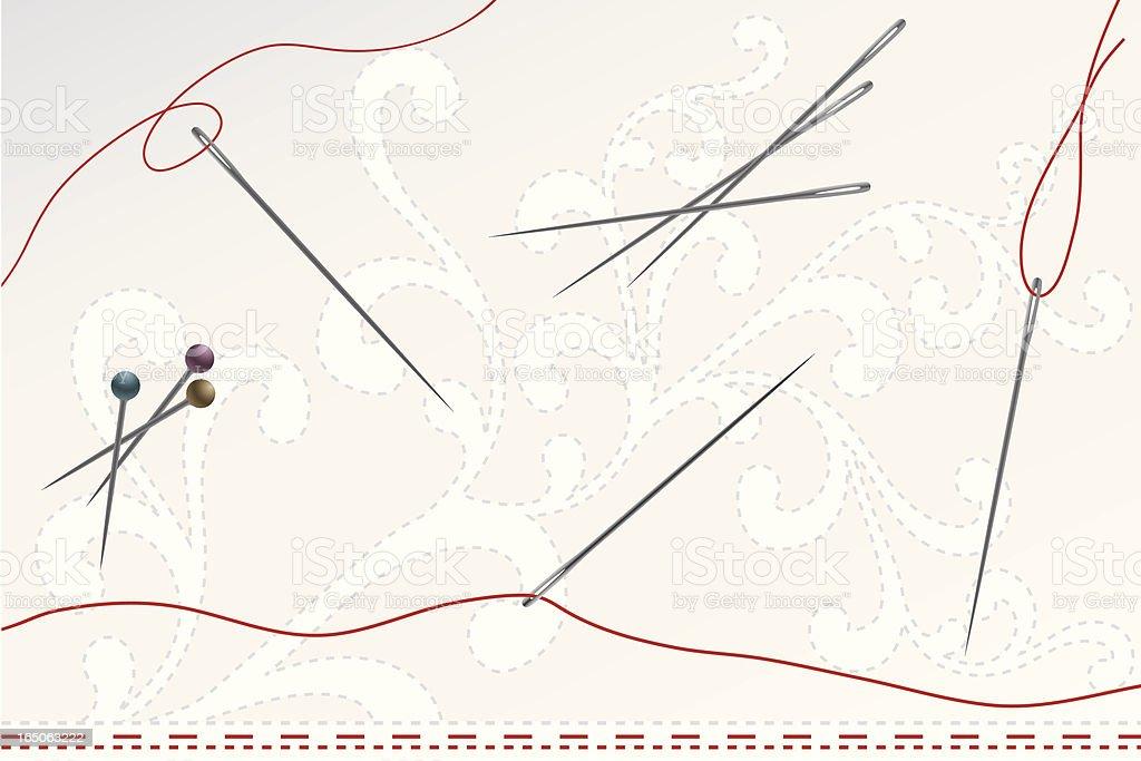 Needles and Pins vector art illustration