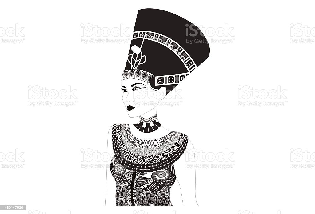 Nefertiti - Egyptian Queen vector art illustration