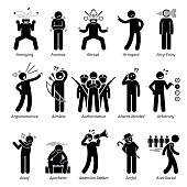 istock Negative Bad Personalities Character Traits. Stick Figures Man Icons. 528058782