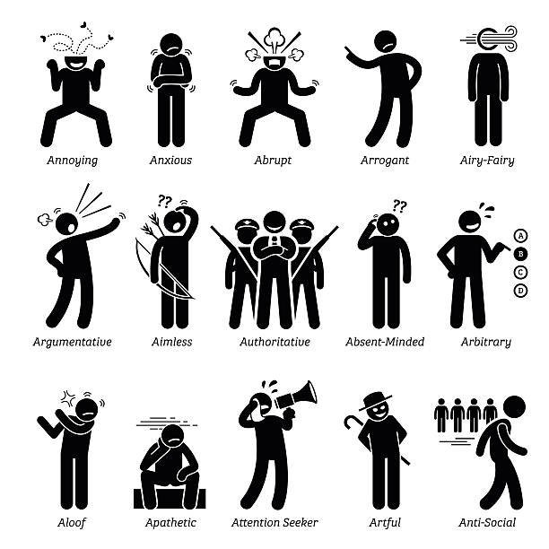 Negative Bad Personalities Character Traits. Stick Figures Man Icons. Negative personalities traits, attitude, and characteristic. Annoying, anxious, abrupt, arrogant, airy-fairy, argumentative, aimless, authoritative, absent-minded, arbitrary, aloof, apathetic, attention seeker, artful, and anti-social.  arbitrary stock illustrations