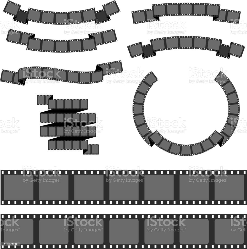 Negative filmstrip, media filmstrip vector art illustration