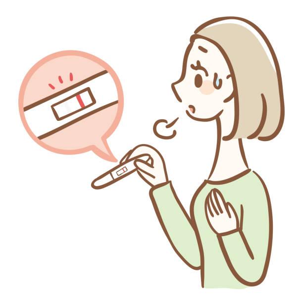 ilustraciones, imágenes clip art, dibujos animados e iconos de stock de negativo en la prueba de embarazo. una mujer que se siente aliviada porque no quiere quedar embarazada - planificación familiar