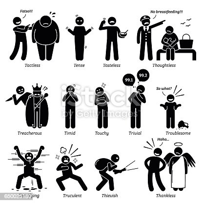 Negative Personalities Character Traits In Stick Figures