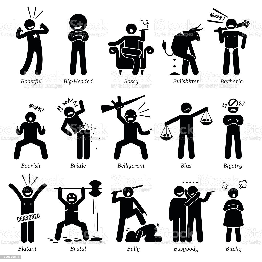 Negative Personalities Character Traits. Stick Figures Man Icons. vector art illustration