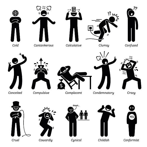 Negative Personalities Character Traits. Stick Figures Man Icons. Negative personalities traits, attitude, and characteristic. Cold, cantankerous, calculative, clumsy, confused, conceited, compulsive, complacent, condemnatory, crazy, cruel, cowardly, cynical, childish, and conformist. showing off stock illustrations