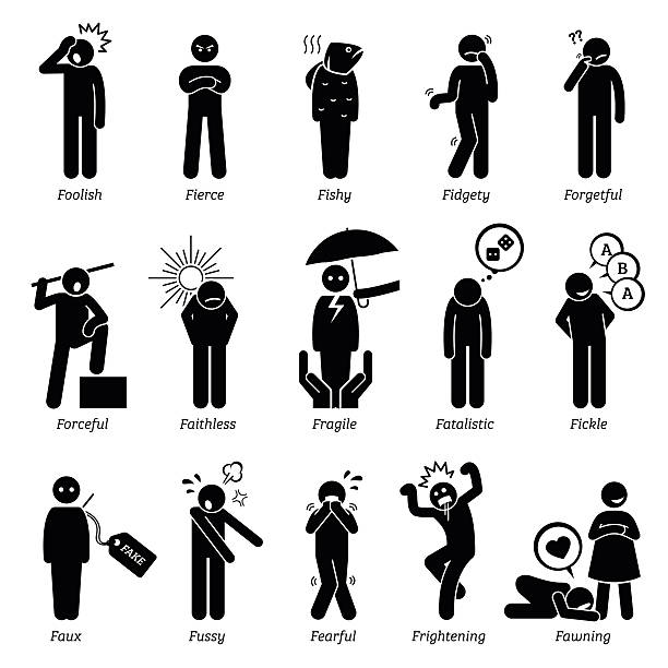 Negative Personalities Character Traits. Stick Figures Man Icons. Negative personalities traits, attitude, and characteristic. Foolish, fierce, fishy, fidgety, forgetful, forceful, faithless, fragile, fatalistic, fickle, faux, fussy, fearful, frightening, and fawning.  careless stock illustrations