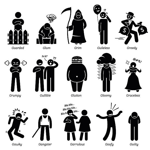 Negative Personalities Character Traits. Stick Figures Man Icons. Negative personalities traits, attitude, and characteristic. Guarded, glum, grim, guileless, greedy, grumpy, gullible, glutton, gloomy, graceless, gawky, gangster, garrulous, goofy, and guilty. infamous stock illustrations
