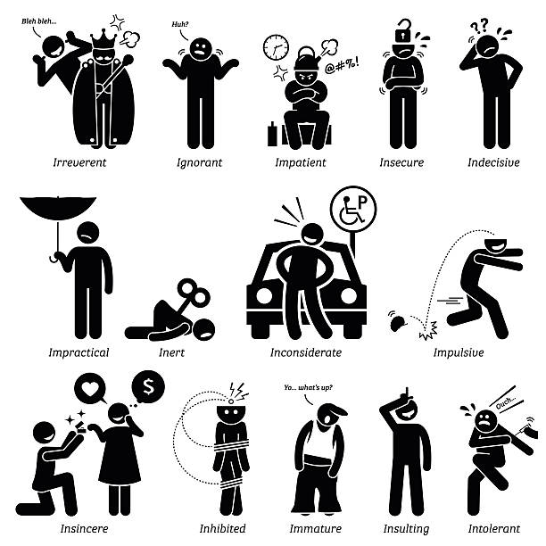Negative Personalities Character Traits. Stick Figures Man Icons. Negative personalities traits, attitude, and characteristic. Irreverent, ignorant, impatient, insecure, indecisive, impractical, inert, inconsiderate, impulsive, insincere, inhibited, immature, insulting, and intolerant. careless stock illustrations