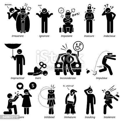 Negative Personalities Character Traits Stick Figures Man ...