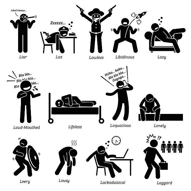 stockillustraties, clipart, cartoons en iconen met negative personalities character traits. stick figures man icons. - paranoïde