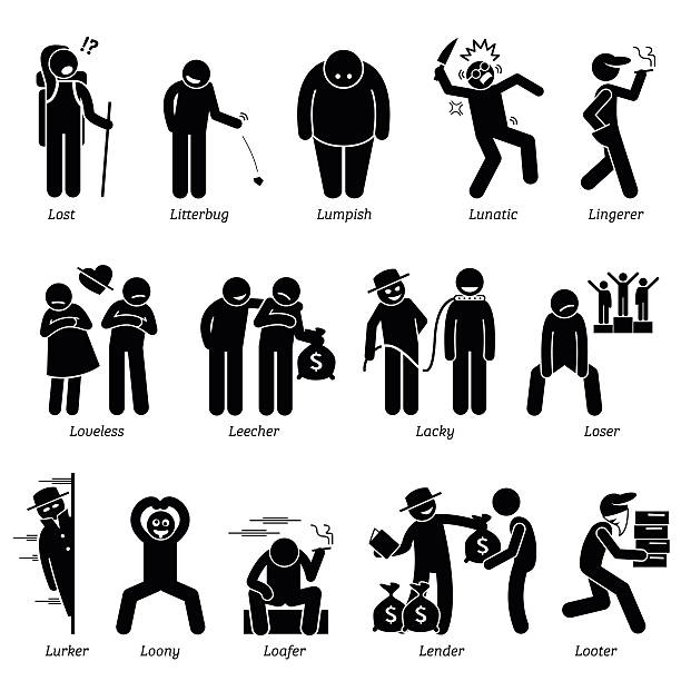 Negative Personalities Character Traits. Stick Figures Man Icons. Negative personalities traits, attitude, and characteristic. Lost, litterbug, lumpish, lunatic, lingerer, loveless, leecher, lacky, loser, lurker, loony, loafer, lender, and looter. inconvenience stock illustrations
