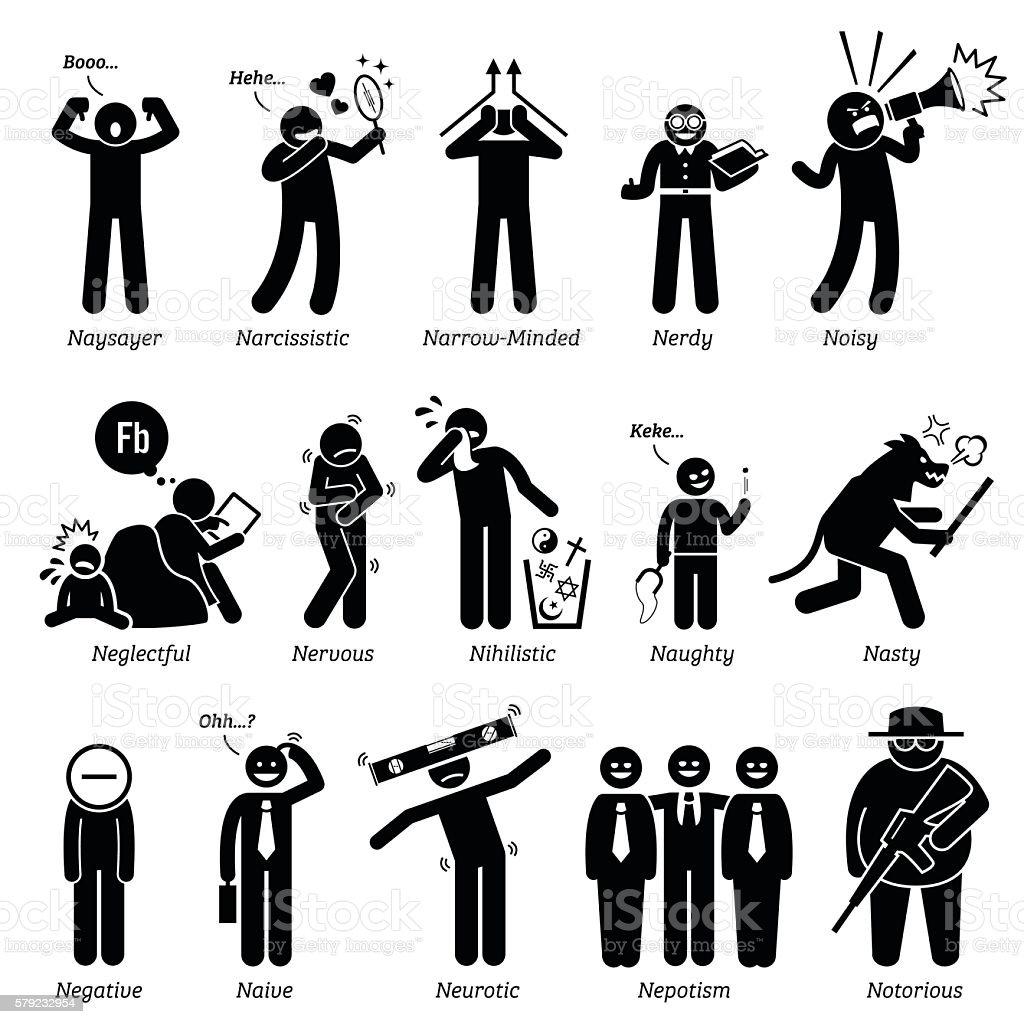Negatif Personnalites Traits De Caractere Baton Chiffres Icones De Lhomme Vecteurs Libres De Droits Et Plus D Images Vectorielles De Adolescent Istock