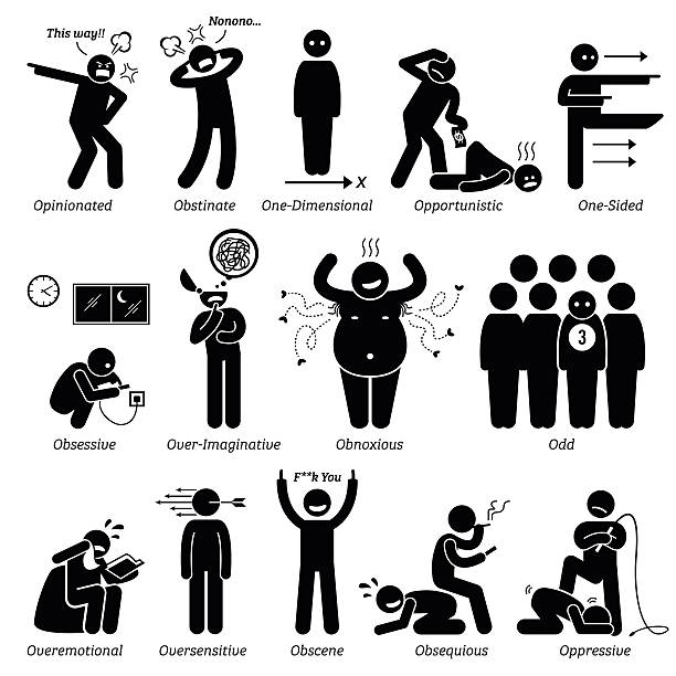 bildbanksillustrationer, clip art samt tecknat material och ikoner med negative personalities character traits. stick figures man icons. - dirty money