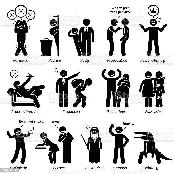 Negative personalities character traits stick figures man icons vector id586379142?b=1&k=6&m=586379142&s=612x612&h=falbhc4jclhi3iyivefqbtora mssfgnuaduksviyfc=