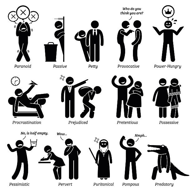 Negative Personalities Character Traits. Stick Figures Man Icons. Negative personalities traits, attitude, and characteristic. Paranoid, passive, petty, provocative, power-hungry, procrastination, prejudiced, pretentious, possessive, pessimistic, pervert, puritanical, pompous, and predatory. arguing stock illustrations