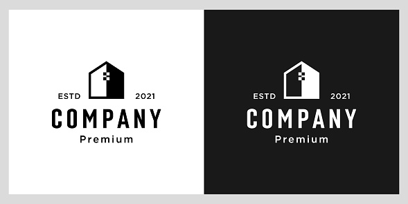 negative space home logo design template