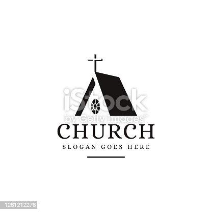istock Negative space silhouette Church icon vector template 1261212276