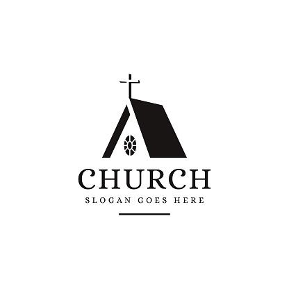 Negative space silhouette Church icon vector template